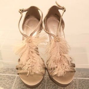 Also Polina Satin Feather Bead Heels